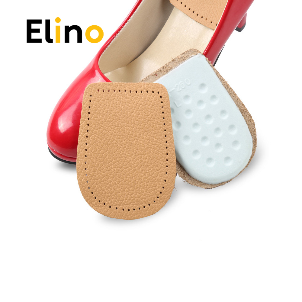 Leather Latex Foot Care Insoles Half Size Thickened Heel Pads Cowskin Flat Foot Massage Shoes Pad Foot Pain Relief Heel Cushions