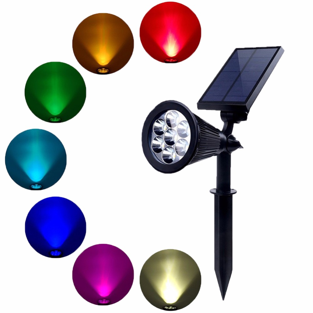 asafee solar spotlight ajustavel movido a energia solar lampada 7 led rgb in ground luz a