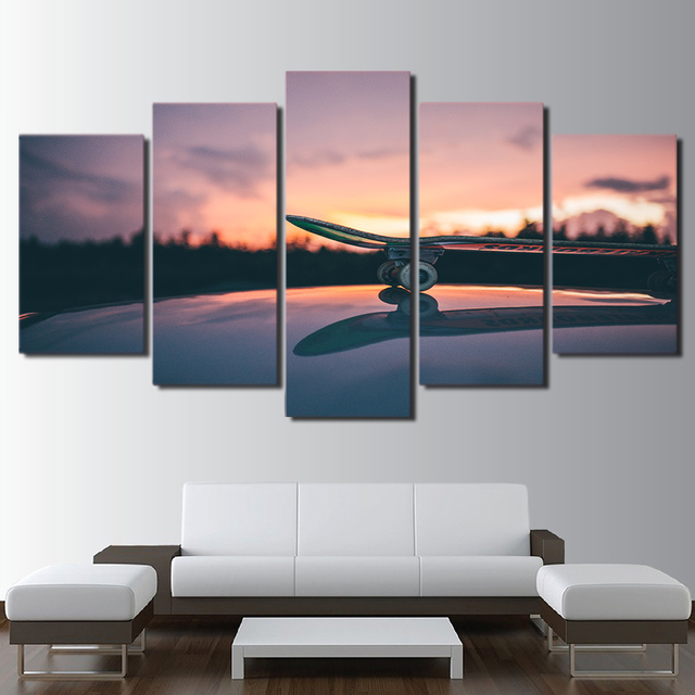 Large Poster HD Printed Frame Painting 5 Panel Skateboard Canvas ...