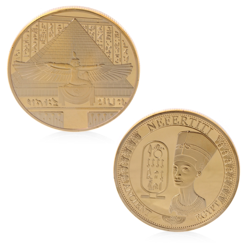Egyptian Pharaoh Commemorative Coins Gold Plated Ancient Egypt Nefertiti Commemorative Challenge Coin Collection Gift