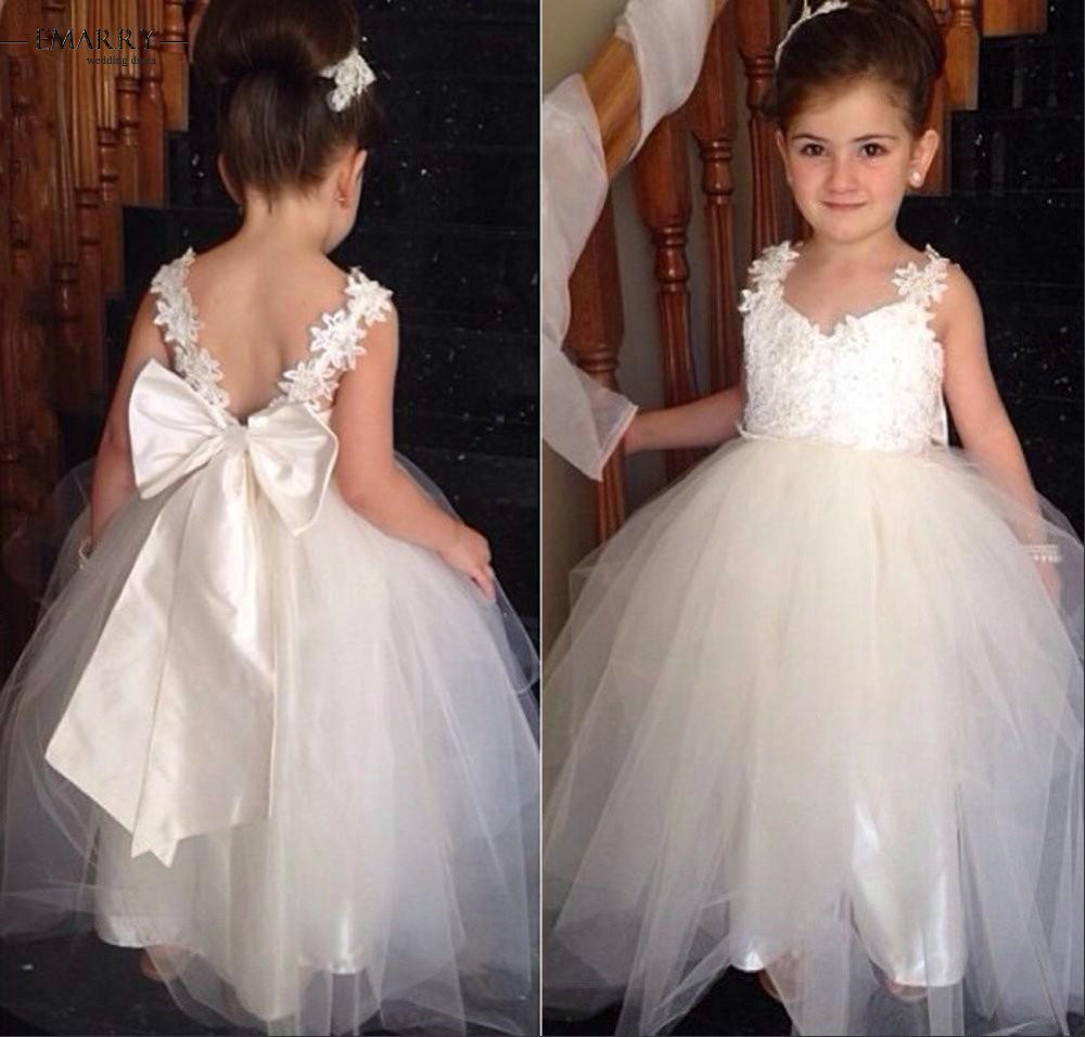 White Ball Gown   Flower     Girl     Dress   2018 Pageant   Dresses   For   Girls   Sweetheart Bow Appliques For Wedding Party Spaghetti Strap