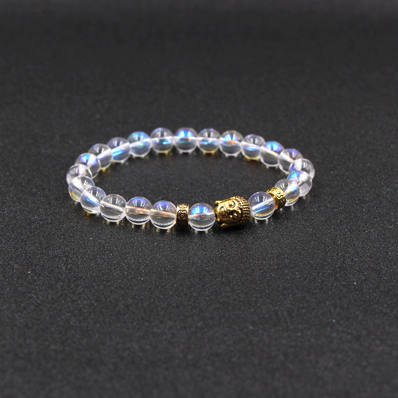 2018 New Natural Stone Single Circle Golden Buddha Elastic Bracelet bracelets for women men jewelry feminina