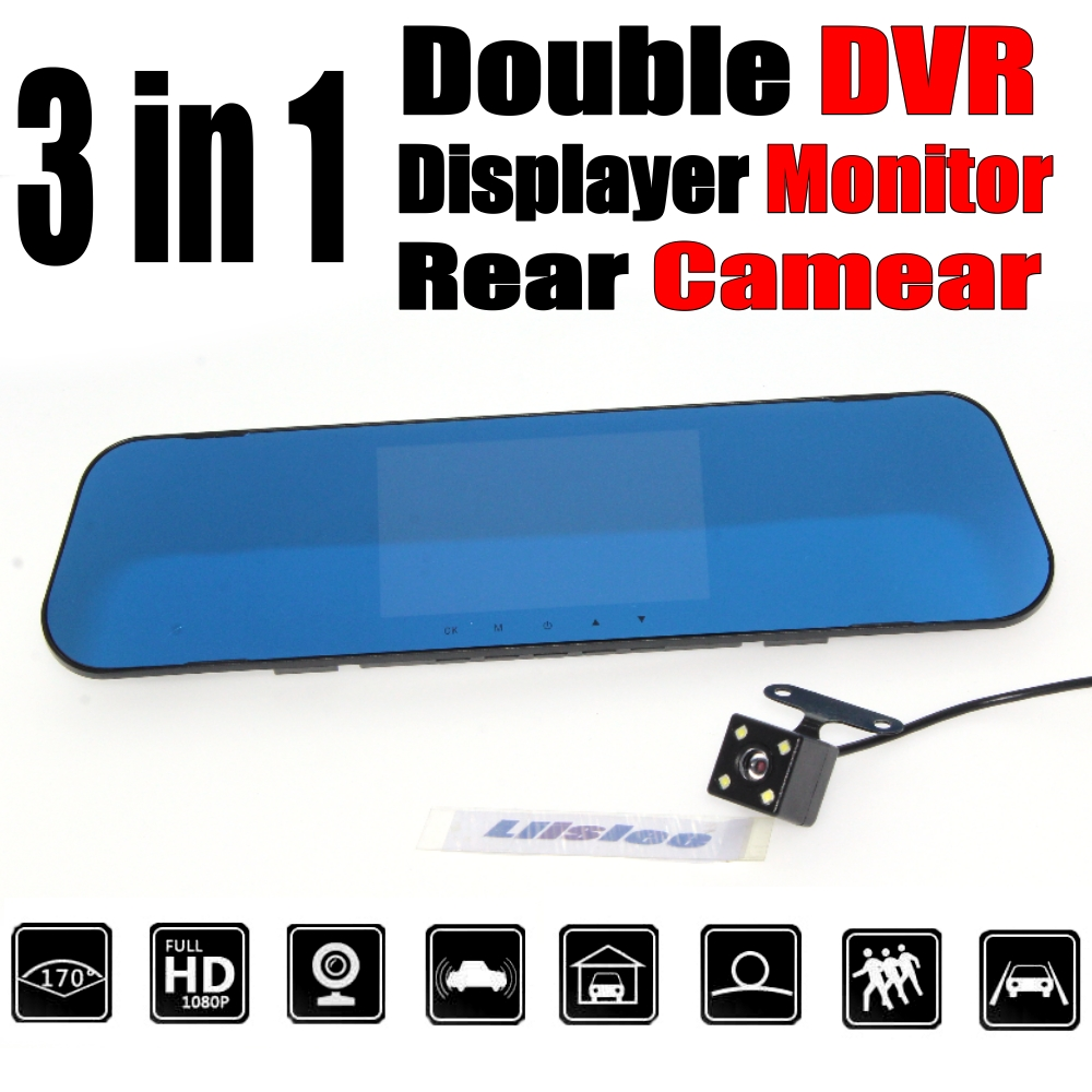Car BlackBox DVR Dash Camera Driving Video Recorder Front Rear Double Camera DVR For Ren ...