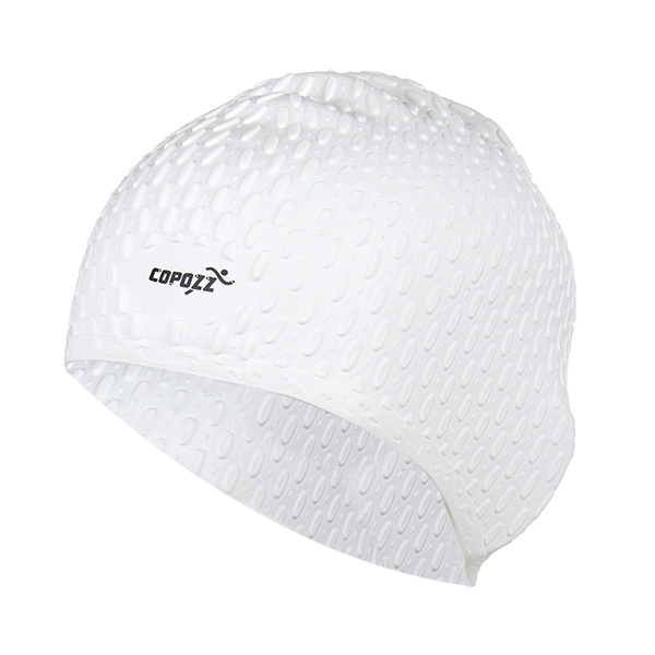 COPOZZ Silicon Swimming Hat Cover Protect Ear Long Hair Waterdrop Swimming Caps(White) ...