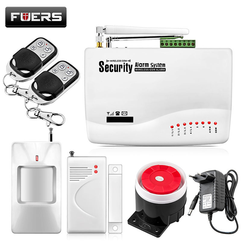 Fuers Wireless/Wired GSM Voice Home Security Burglar Android IOS Alarm System Auto Dialing Dialer SMS Call Remote Control Alarm wholesale price gsm home alarm system wireless gsm sms home scurity burglar voice alarm system remote control arn disarm