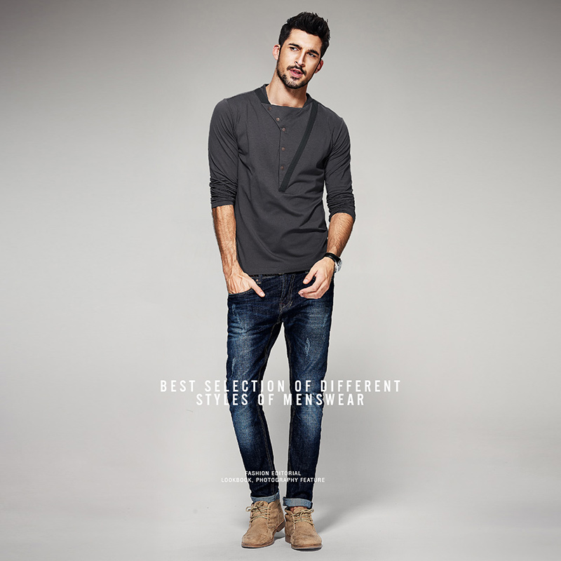 Homme chemise 2019 mode nouveau Style intelligent décontracté solide ingrédient col rond coton conventionnel Placket col pleine manches chemise