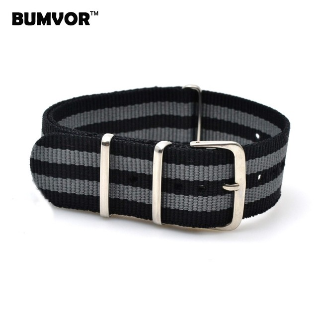 18 20 22 24 mm Black/Grey Striped Nato Strap for Army Sport Watch Nylon Watchband Strap On For Hours For James Bond Watch