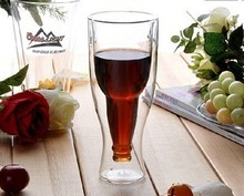 1PC 350ML New high quality Creative Beer Cup Durable Double Wall Glass beer steins  hot selling JO 1060