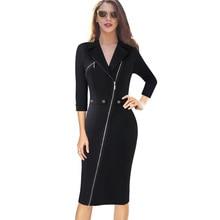 Vfemage, женское сексуальное элегантное асимметричное платье с отворотом, на молнии, с пуговицами, на каждый день, для работы, офиса, бизнеса, вечерние, облегающее платье 10079