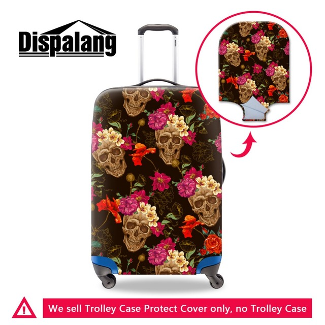 Dispalang Flower Skull print Luggage Bags Covers Red Floral Luggae Protectors for 18-30 inch Elastic Suitcase Protective Duffle