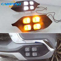 LED Daytime Running Light For Mitsubishi Montero Sport 2016 2017 2018 12V Yellow Turn Signal Indicator Light Bumper LED DRL