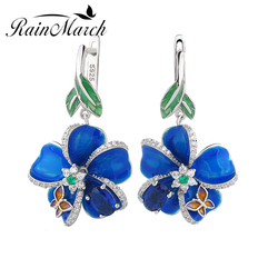 RainMarch Blue Enamel Flower Silver Earrings For Women Engagement 925 Sterling Silver Earring Handmade Wedding Party Jewelry