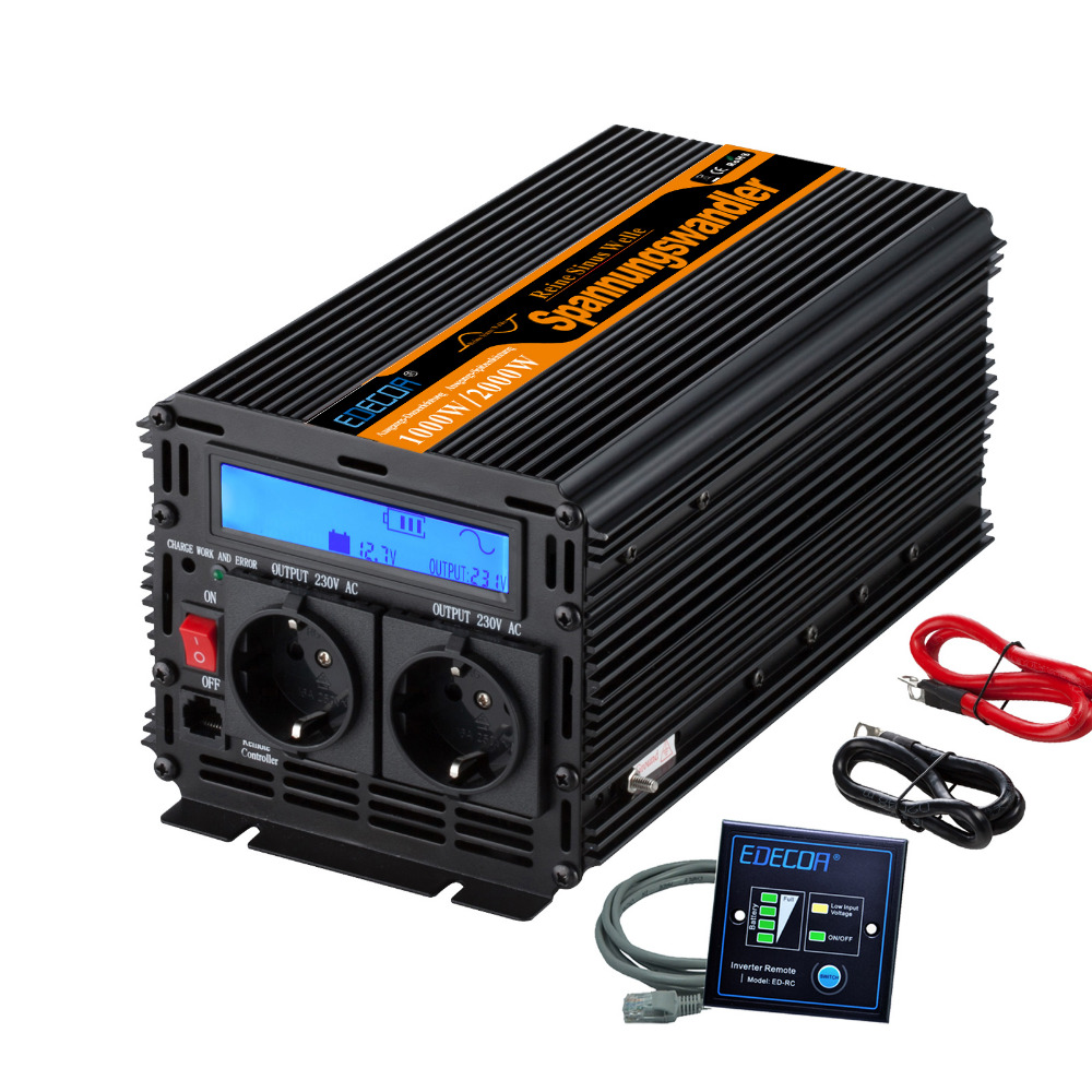 inverter 12v 220v 1000W LCD inverter pure sine wave with newest remote