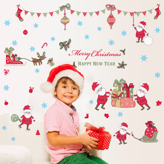 Merry christmas window stickers DIY Vinyl Wall Stickers Santa Claus Glass Home Decor Art Decals Wallpaper decorations for home