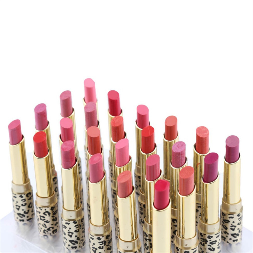 Beauty Essentials Supply 24pcs/set New Leopard Pattern Lipstick Waterproof Glide Moisture Protective Lip Stick Cosmetics 12 Colors Makeup Tool A Plastic Case Is Compartmentalized For Safe Storage Beauty & Health