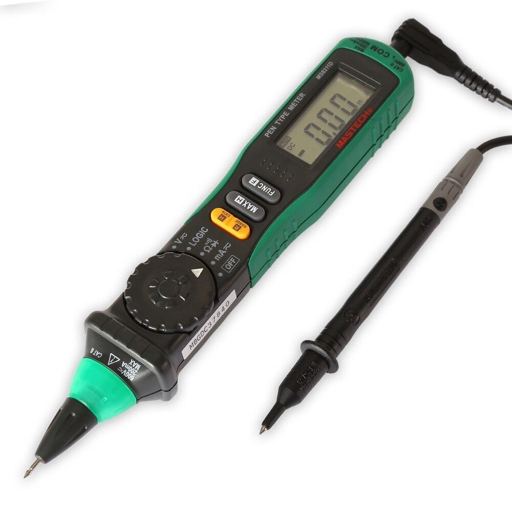 MS8211D precisión multímetro Digital medidor del tipo de pluma Auto de la gama de pantalla LCD multímetro Digital Multitester profesional probador de voltaje de corriente
