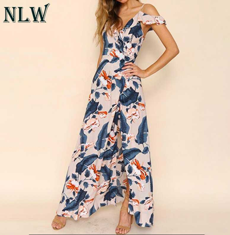 d6fb0f59c418b NLW Boho Floral Print Maxi Dress Cold Shoulder Summer Chiffon Long Dress  Women Girl Beach Elegant Wrap Dress Femme Chic Vestidos