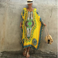 2017 Summer Vintage Ethnic Dresses Women Casual Loose Long Dress 6 Colors Plus Size Batwing Sleeve