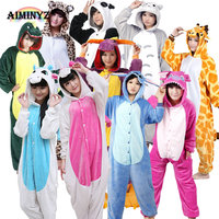 Unicorn Stitch Totoro Kigurumi Adult Unisex Flannel Hoodie Pajamas Costume Cosplay Cute Animal Onesies Sleepwear For