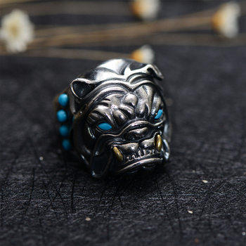 MetJakt Vintage Thai Silver Bulldog Ring with Natural Turquoise Solid 925 Sterling Silver Open Ring for Men's Punk Jewelry