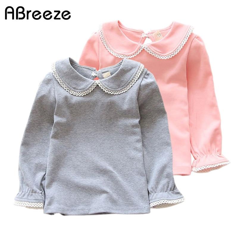 Abreeze Neue Kinder T-shirts Für Mädchen Frühling Herbst Baumwolle Mädchen Kleidung Rosa Weiß Kinder T Solide Mädchen Langarm Shirts