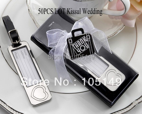 Wedding Gift Etiquette Traveling Guests : Wedding Gift of Silver Travel Luggage Tags Wedding Favor for Guests ...