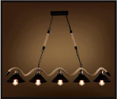 Лампы персонализированные ручной конопли промышленной конопли LOFT ретро подвесные светильники ветер Бар Кафе Ресторан три пять глава GY300