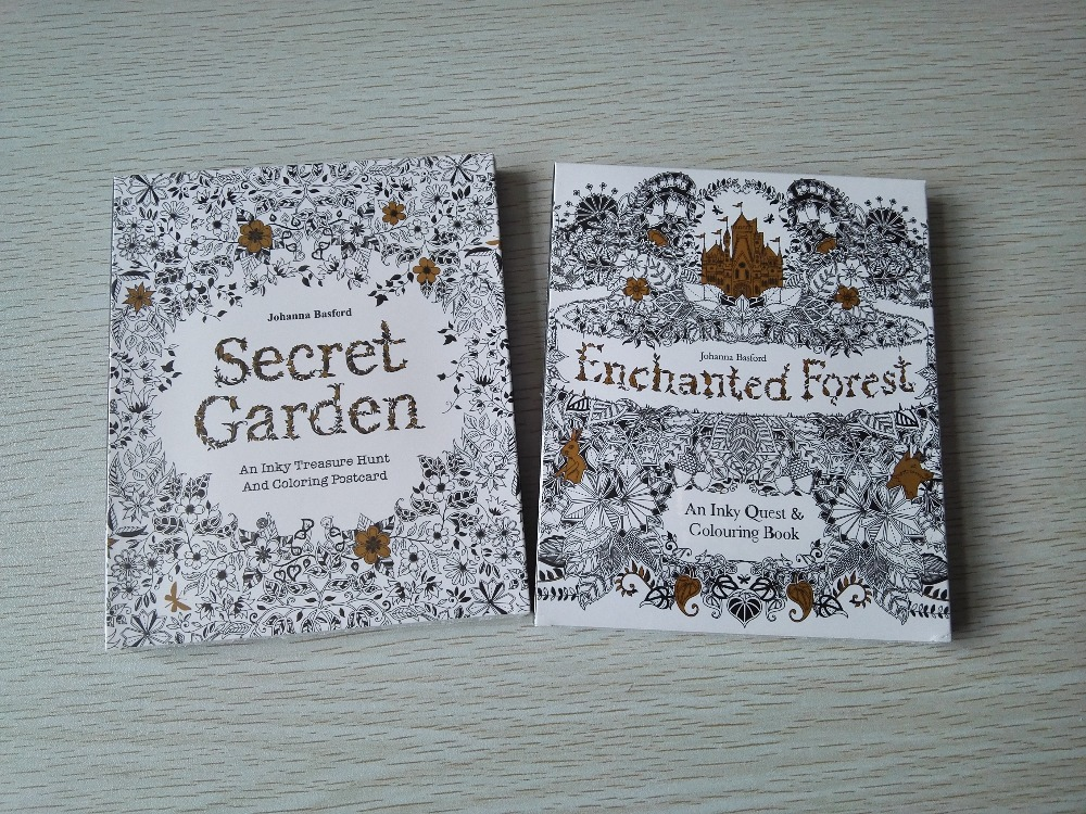 2PCS/LOT English Edition Secret Garden + Enchanted Forest 30 Sheets Coloring Card  Tintage Postcards DIY Colouring Postcards