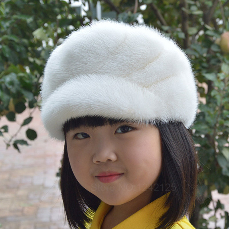 New Autumn winter parent-child mink fur hat windproof warm cute luxurious peaked female genuine mink cotton fur basin cap hat new autumn winter warm children fur hat women parent child real raccoon hat with two tails mongolia fur hat cute round hat cap