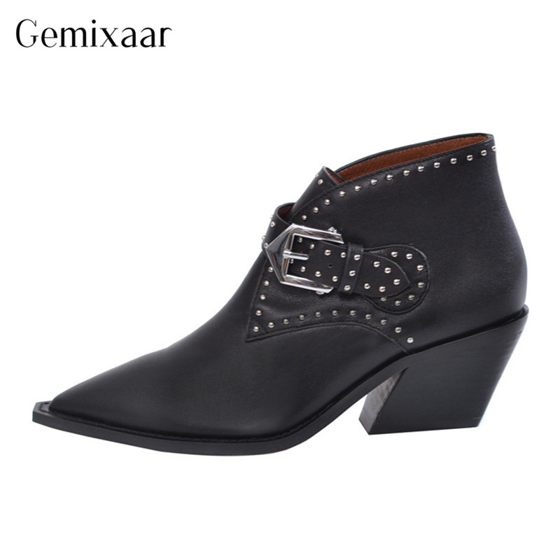 New Autumn Rivet Woman Ankle Boots Classic Pointed Toe Square High Heels Botines Fashion Real Leather Decor Point Rivet Botas New Autumn Rivet Woman Ankle Boots Classic Pointed Toe Square High Heels Botines Fashion Real Leather Decor Point Rivet Botas