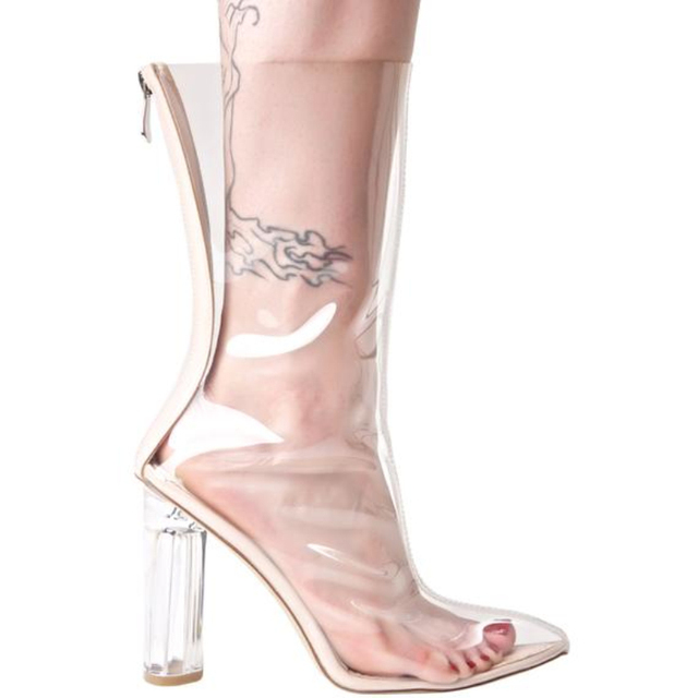 cdb528374e Sexy PVC Mid-Calf Women Zipper Boots Transparent Pointed Open Toe Fashion Clear  Boots Crystal Perspex High Heels Women Pumps