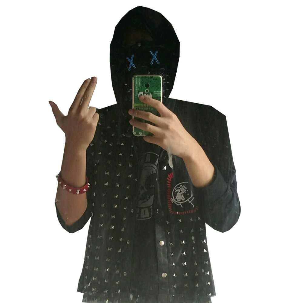 2017 Watch Dogs 2 Wrench Rompi Cosplay Kostum Hitam Kulit Imitasi Dedsec Rivet Jaket