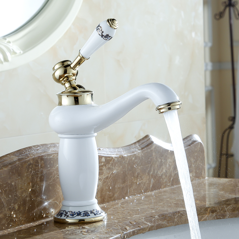 Basin Faucets Chrome Bathroom Faucet Ceramic Base Single Hole Brass ...
