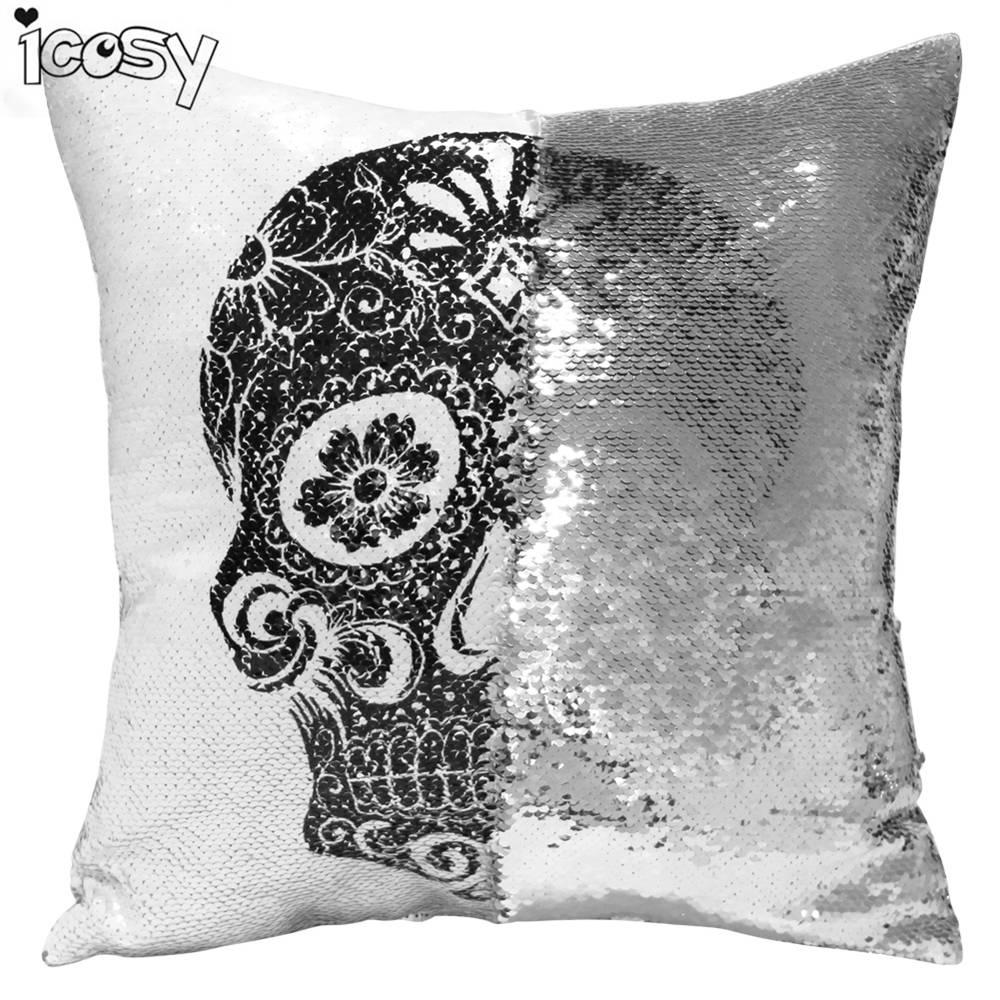 online get cheap skull decorative pillows aliexpresscom  - skull head printed reversible sequin cushion cover pillow case decorativepillows pillowcases for sofa home decor