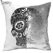 Skull Head Printed Reversible Sequin Cushion Cover Pillow Case Decorative Pillows Pillowcases for Sofa Home Decor