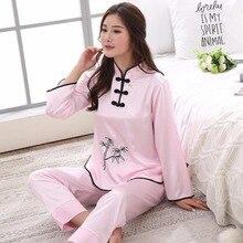 Pajamas Set Sleepwear Lounge-Girl Embroidery Pink Sexy Female Chinese Women Rayon M-XXL