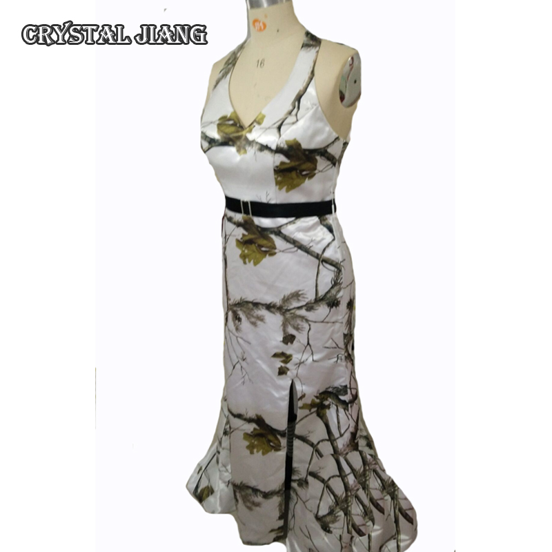 Humor Ap White Realtree Camo Bridesmaid Dresses 2018 Sleeveless Halter Neck Side Split Court Train Elegant In Smell Weddings & Events Wedding Party Dress
