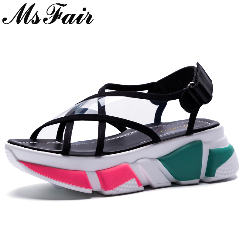 MsFair Round Toe Wedges Platform Rome Women Sandals Fashion Thick Bottom Casual Women Shoes 2018 Summer Open Toed Flat Sandals mvvjke summer women shoes woman genuine leather flat sandals casual open toe sandals women sandals