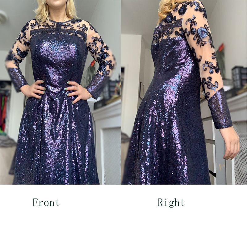 ef1e8778c4 US $87.06 50% OFF|Dressv navy blue knee length jewel neck a line mother of  bride dress with long sleeves sequins long mother evening gown custom-in ...
