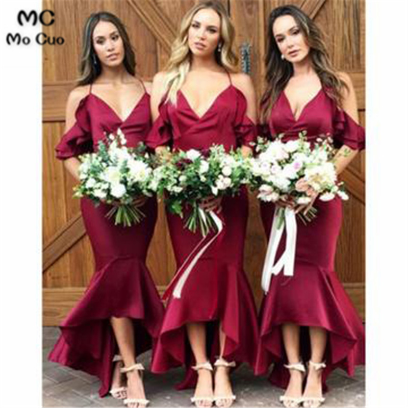2018 Off Shoulder Mermaid   Bridesmaid     Dress   Spaghetti Straps Wedding Party   Dress   Shiny Satin Women   Bridesmaid     Dresses