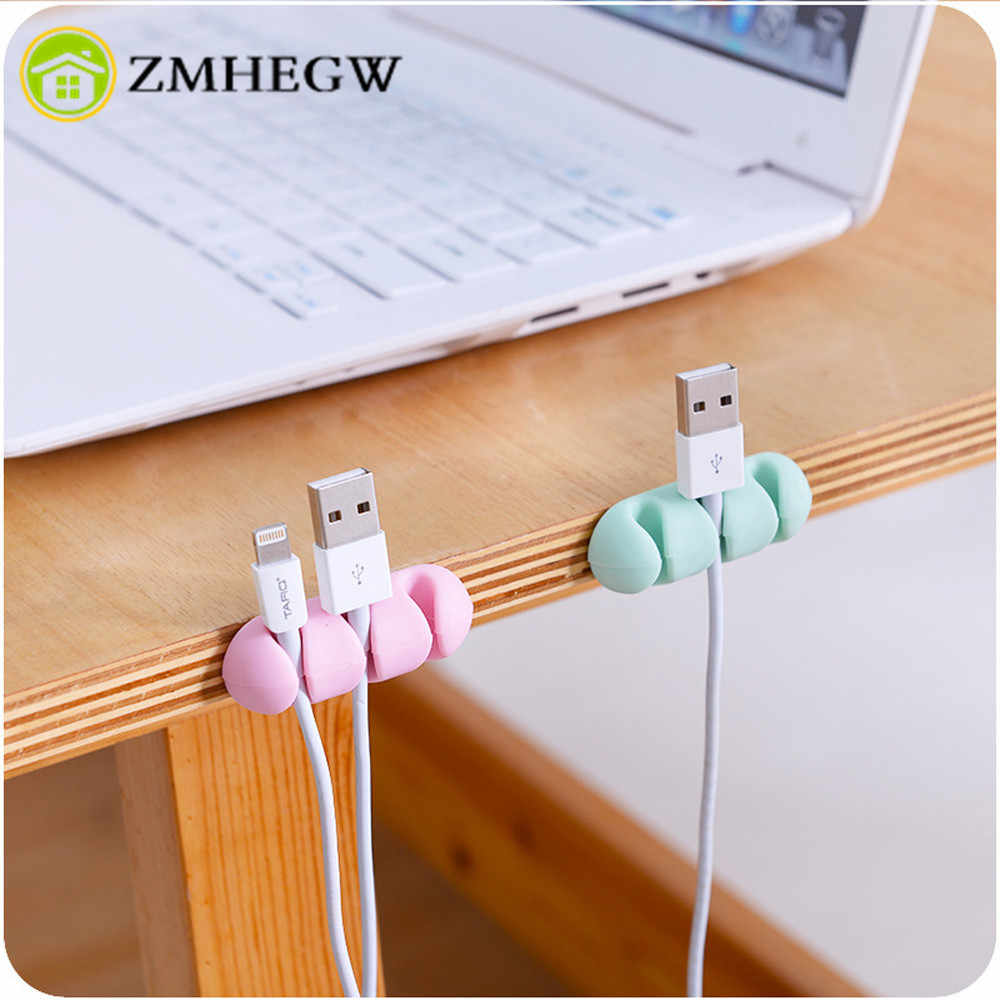 2 Pcs Headphone Headset Wire Wrap Cord Winder Organizer Cable Collector Silica Bobbin Winder Wrap Cord Office Solid Tool NEW