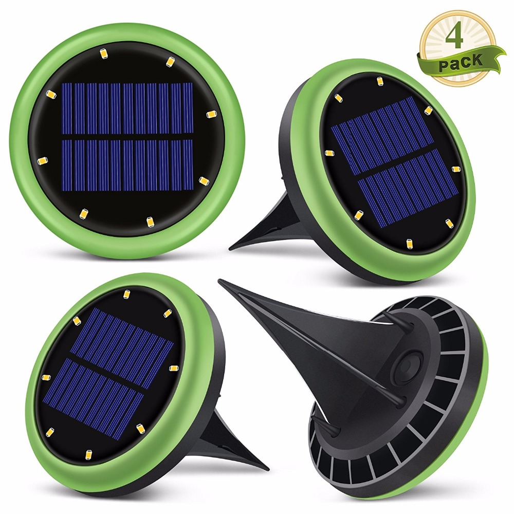 4 Packs 8LEDs Solar Ground Lights In Ground Waterproof Lights With 8 LEDs for Garden