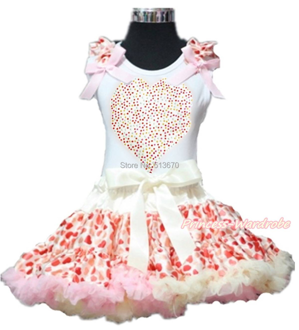 Valentine Rhinestone Heart Pink Bow White Top Beige Hearts Girl Pettiskirt 1-8Y Set 1-8Y MAPSA0195 xmas red orange yellow black roses brown top baby girl pettiskirt outfit 1 8y mapsa0038