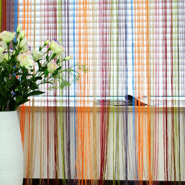 Indoor Rainbow Color Line Curtainupscale Decor Room Divider Strip Tassel Line String Curtains Blinds for Living Room