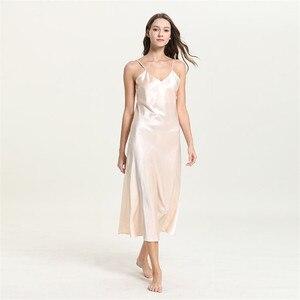 Image 4 - Robe de nuit en dentelle, col en v, tenue de nuit pour femme, blanche, longue, bretelles Spaghetti