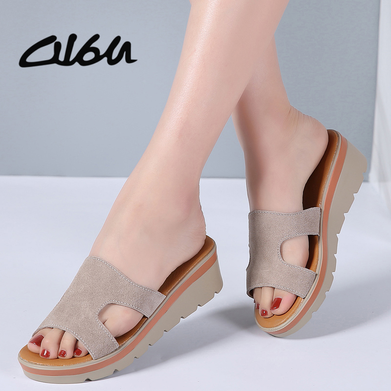 O16U Summer Women slippers Suede Leather Open Toe middle heel Shoes Women platform Slides black Peep Toe Casual sandals Outside