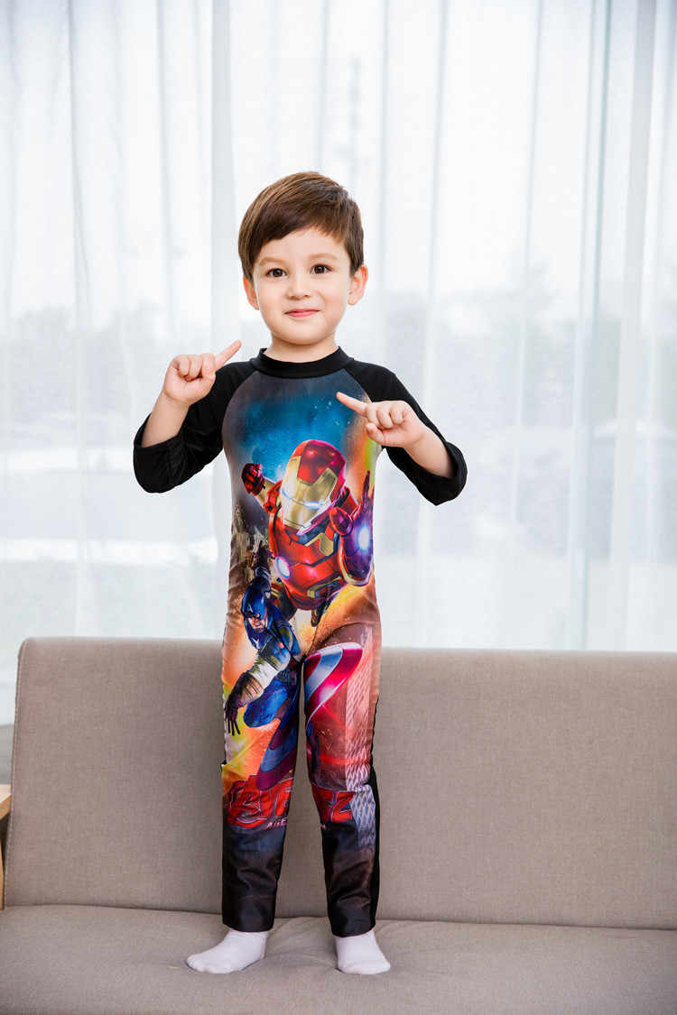 fbcfaf1bfe ... swimsuit kids boys swimsuits one pieces with cap captain america  printed children swimwear beach clothes boy ...