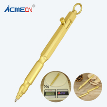 ACME 2017 Newest Pure Brass Ballpoint Pen 56g Copper Heavy Tactical Self Defense Pens Gun Style Square Propelling Ball 1716B