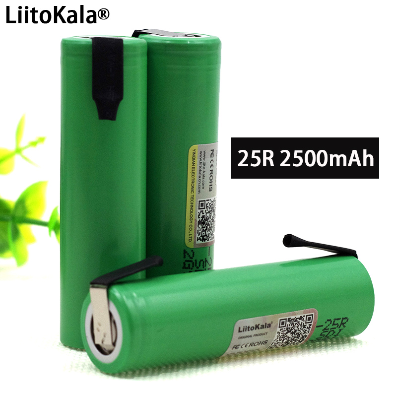 Liitokala New Original 18650 2500mAh Battery INR1865025R 3.6V Discharge 20A Dedicated Power Battery + DIY Nickel Sheet
