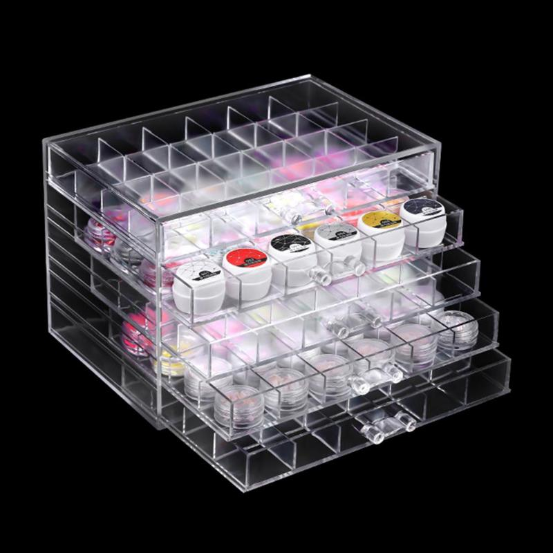 5 Layers Drawer Clear Acrylic Storage Box Nail Polish Rack Makeup Organizer Nail Art Rhinestone Manicure Tools Storage Box